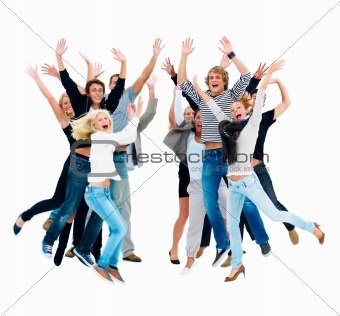 Group of friends jumping in joy with hands raised against white