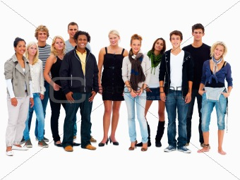 Group of smiling friends standing against white background