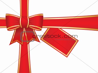 Bow and ribbons with blank gift tag
