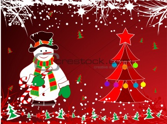 Abstract christmas theme with snowman