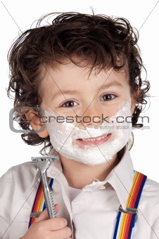 Adorable child shaving