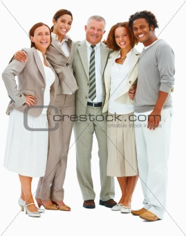 Portrait of business people laughing against white