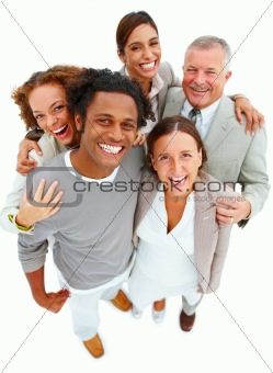 Portrait of smiling business people standing against white