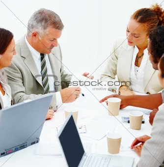 Busy colleagues having a business meeting against white backgrou