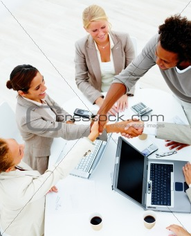 Business people having a business meeting against white backgrou