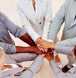Closeup of business people showing unity