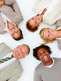 Closeup of happy business people lying on white