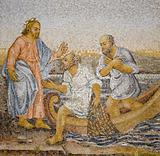 Rome - mosaic - miracle fishing from New Testament in basilica of st. Peters