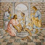 Rome - mosaic - feet washing from New Testament in basilica of st. Peters - last super