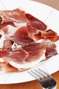 Slices of spanish ham