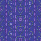 Flowers hearts seamless pattern