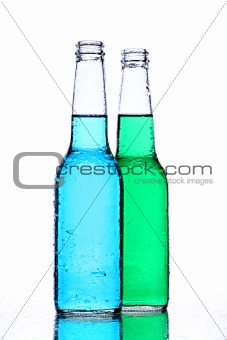 alcohol bottles on white