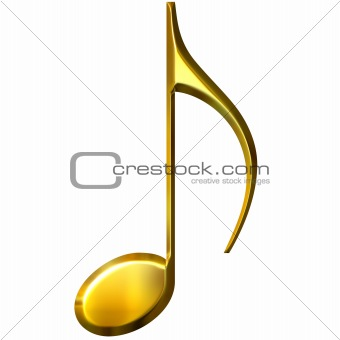 3D Golden Eighth Note
