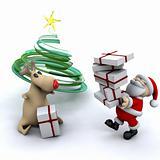 Santa with his reindeer