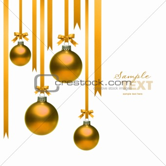 Christmas balls hanging with ribbons on white