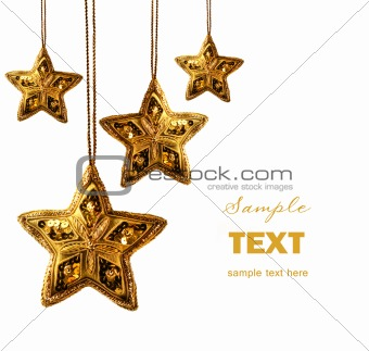 Gold beaded stars isolated on white
