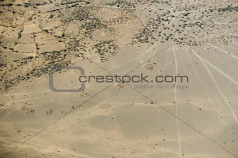 aerial view on a traditional masai village