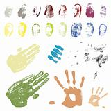Color coded hand and finger traces