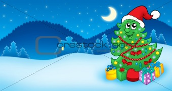 Christmas card with Santa tree and gift