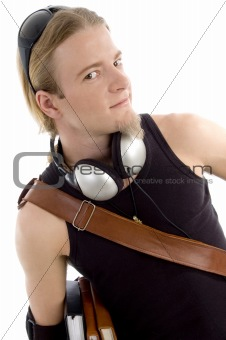 smart student with books and headphones