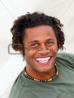Closeup portrait of a smiling black young man