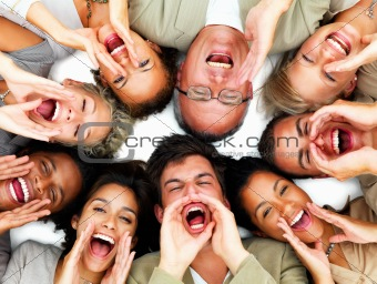 Closeup of business people lying against white background and sh