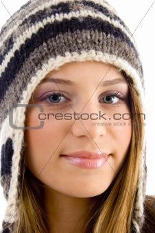 close up of beautiful female looking at camera