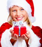 Closeup of a cute Santa lady holding a gift isolated on white ba