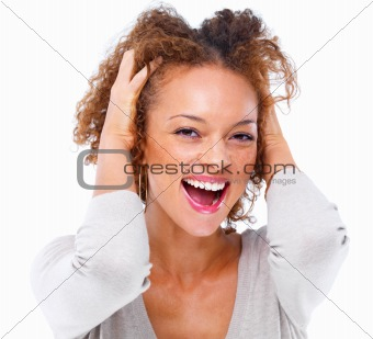 Closeup portrait of a girl laughing, isolated on white backgroun