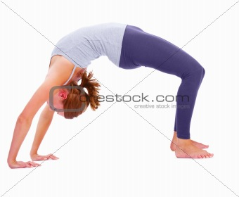 Side view of a girl exercising, isolated on white background