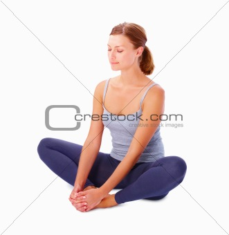 Girl exercising isolated on white background