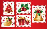 New Year's, christmas symbols and elemnts. Postmark