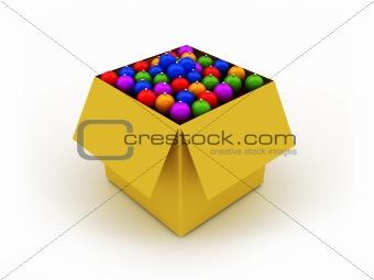 Box with christmas balls