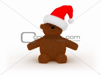 toy bear in Santa`s hat