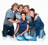 Group of young teenagers on white background