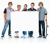 Full length portrait of students holding copyspace