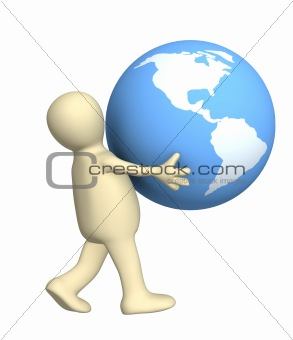 3d person carrying in hands globe