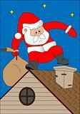 Santa Klaus on a house roof