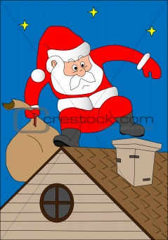 Santa Klaus on a house roof
