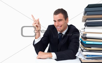 Businessman pointing finger isolated on  white