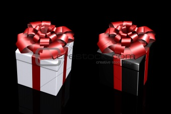 Beautiful box with a gift with a bow