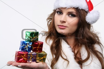 Beautiful woman posing as santa.