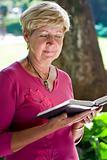elderly woman reading bible