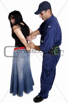 An officer apprehending a female
