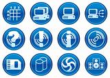 Gadget icons set. White - dark blue palette.