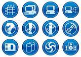 Gadget icons set. White - dark blue palette.