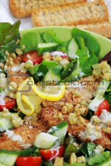 Green salad with chicken stripes