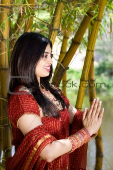 Indian woman praying