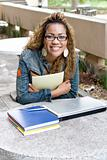happy young female african american college student