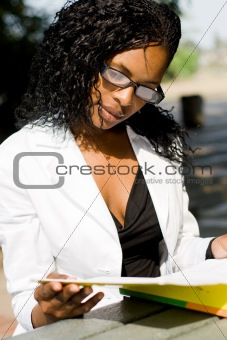 african female college student